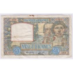 BILLET FRANCE 20 FRANCS SCIENCE ET TRAVAIL 20-02-1941 TB L'ART DES GENTS