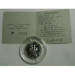 BELLE EPREUVE argent 5 Francs Tour eiffel 1989 + certificat