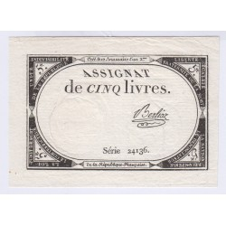 FRANCE ASSIGNAT 5 LIVRES 10 BRUMAIRE AN 2  l'art des gents Avignon