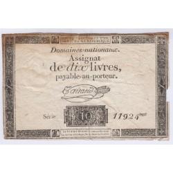 FRANCE ASSIGNAT 10 livres 1792 l'art des gents Avignon