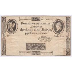 FRANCE ASSIGNAT 25 livres 1791 B+ l' Art Des Gents Numismatique Avignon