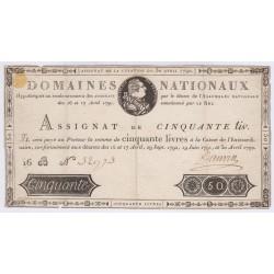 FRANCE ASSIGNAT à portrait 50 Livres 1792 l' Art Des Gents  Numismatique Avignon