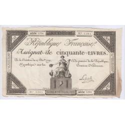 FRANCE ASSIGNAT 50 Livres  14-12-1792 l' Art Des Gents  Numismatique