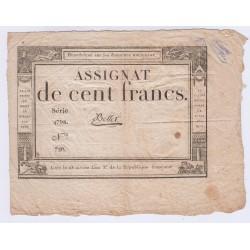 FRANCE ASSIGNAT 100 FRANCS 18 NIVOSE AN 3 l' Art Des Gents Numismatique