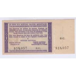 FRANCE 1 FRANC BON DE SOLIDARITE PETAIN AVEC SOUCHE 1940 1944 L'ART DES GENTS