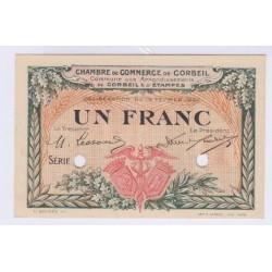 BILLET DE NECESSITE SPECIMEN 1 FRANC 1920 CHAMBRE DE COMMERCE DE CORBEIL
