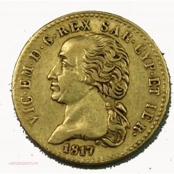 ITALIE - 20 Lire or 1817  Victorio Emanuel Ier sardeigne, lartdesgents.fr