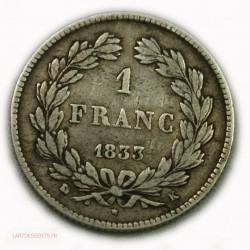 Louis Philippe Ier, 1 Franc 1833K Bordeaux, lartdesgents.fr
