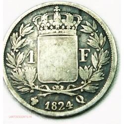 LOUIS XVIII buste nu, 1 Franc 1824Q Perpignan, lartdesgents.fr