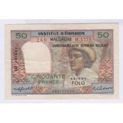 MADAGASCAR 50 FRANCS TTB RARE L'ART DES GENTS AVIGNON