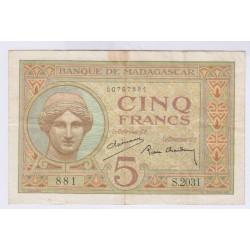 BILLET MADAGASCAR 5 FRANCS 1937  L'ART DES GENTS AVIGNON