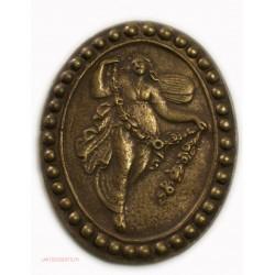 Médaille uniface ovale - Femme courant, en cuivre 67mm, lartdesgents.fr
