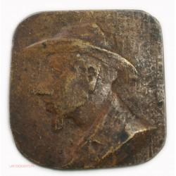 Médaille plaque uniface Fonte viel homme