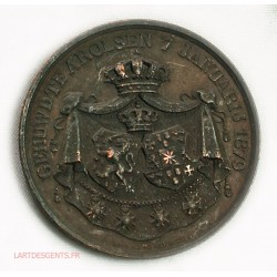 rare Médaille Pays-Bas, Mariage WILLEM III & EMMA VAN WELDERCK 1879