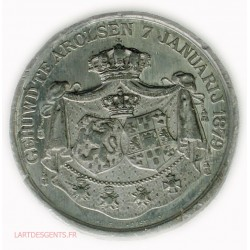 rare Médaille étain Pays-Bas, Mariage WILLEM III & EMMA VAN WELDERCK 1879