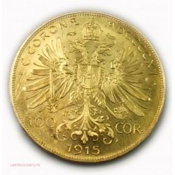 Autriche Österreich 100 Corona Or Gold Franz Joseph Josef 1915