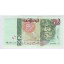 BILLET DU PORTUGAL 5000 ESCUDOS 1998 NEUF L'ART DES GENTS NUMISMATIQUE AVIGNON