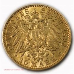 Allemagne - HAMBURG 10 MARK 1893 J Gold/ or 900/00