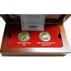 Coffret bois, 2 médailles plaqué or (20$ 1933 +1 pound 1898)
