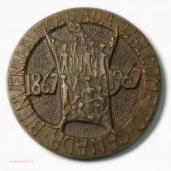 Médaille Bienvenue Welcome to CANADA 1867-1967 par D. HUNT