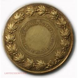 Médaille argent doré Napoléon III Concours Musical SENLIS 1868 par OUDINE