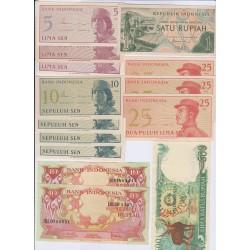 LOT DE 6 BILLETS INDONESIE