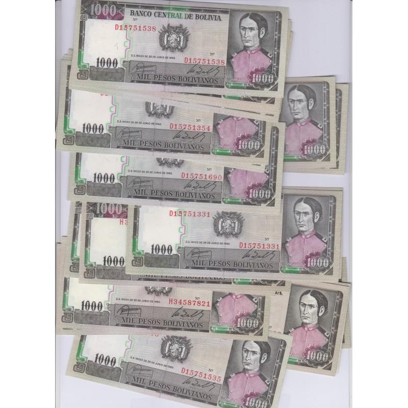 lot de 50 Billets de Bolivie 1000 Bolivianos 1982