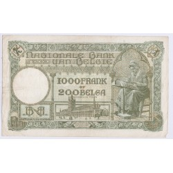 BILLET BELGIQUE 1000 FRANCS – 200 BELGAS 1939 L'art des gents AVIGNON