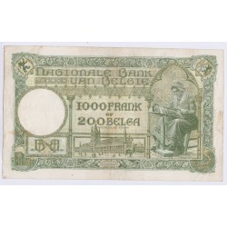 BILLET BELGIQUE 1000 FRANCS – 200 BELGAS 08-09-1939 L'art des gents AVIGNON