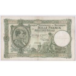 BILLET BELGIQUE 1000 FRANCS 19-01-1940 L'art des gents AVIGNON
