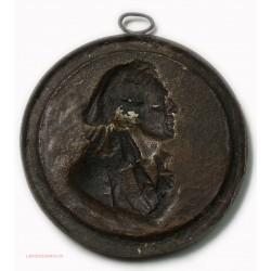 Médaillon fonte uniface  portrait de MARAT révolution Française
