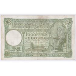 BILLET BELGIQUE 1000 FRANCS 13.01.1942 L'art des gents AVIGNON