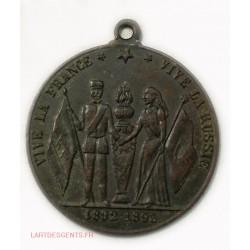 Médaille souvenir Amitié Franco-Russe 1892-1893 Paris - Cronstant