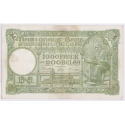 BILLET BELGIQUE 1000 FRANCS 01-04-1943 L'art des gents AVIGNON