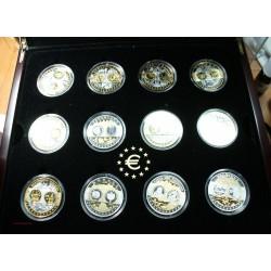 24 X Médailles EUROPA Argent 999/00 et or, série complète coffret bois