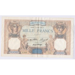 BILLET FRANCE CERES ET MERCURE 1000 FRANCS 18 Mai 1933 L'ART DES GENTS AVIGNON