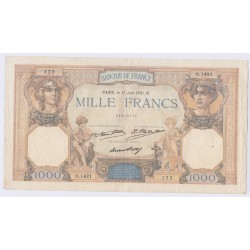 BILLET FRANCE CERES ET MERCURE 1000 FRANCS 11 Juin 1931 L'ART DES GENTS AVIGNON
