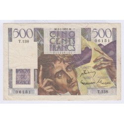 BILLET FRANCE 500 FRANCS CHATEAUBRIAND 02-01-1953 L'ART DES GENTS AVIGNON