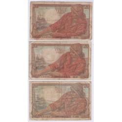 Lot de 3 BILLETS FRANCE 20 Francs Pêcheur 1942-1943-1948 L'ART DES GENTS