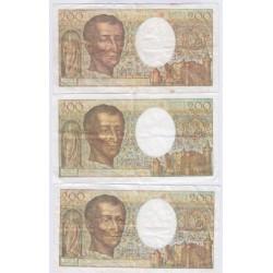 Lot de 3 BILLETS FRANCE 200 Francs MONTESQUIEU L'ART DES GENTS