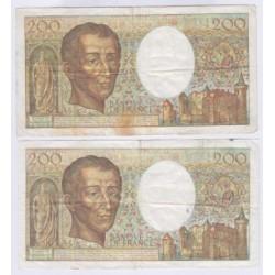 Lot de 2 BILLETS FRANCE 200 Francs MONTESQUIEU L'ART DES GENTS