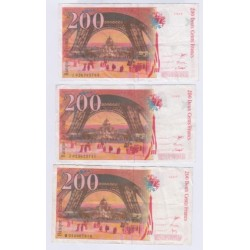 LOT DE 4 BILLETS BRANCE 200 Francs EIFFEL L'ART DES GENTS NUMISMATIQUE AVIGNON
