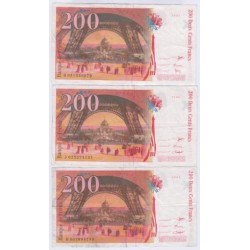 LOT DE 3 BILLETS BRANCE 200 Francs EIFFEL L'ART DES GENTS NUMISMATIQUE AVIGNON