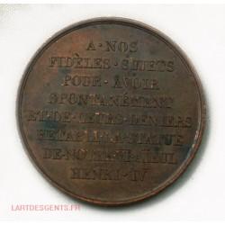"""Médaille Jeton Henri IV et Louis XVIII """"à nos fidèles sujets"""""""