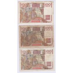 Lot de 3 BILLETS FRANCE 100 FRANCS JEUNE PAYSAN  L'ART DES GENTS