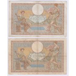LOT DE 2 BILLETS FRANCE 100 FRANCS LOM 1936 et 1937 L'ART DES GENTS AVIGNON