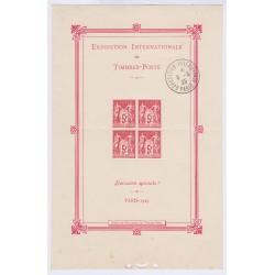 FRANCE BLOC FEUILLET N°1b  EXPOSITION PHILATELIQUE DE PARIS 1925 Avec cachet expo, Côte 1500 Euros L'ART DES GENTS