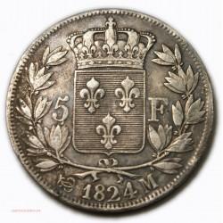 Louis XVIII 5 FRANCS 1824 M Toulouse, lartdesgents.fr