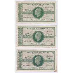 BILLET 1000 FRANCS VERSO FRANCE 1945 Série 2 TTB L'ART DES GENTS NUMISMATIQUE