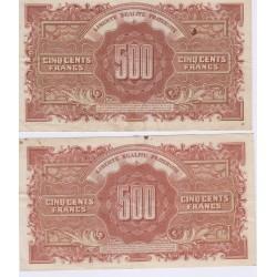 LOT BILLETS 500 FRANCS MARIANNE1945 TTB L'ART DES GENTS NUMISMATIQUE